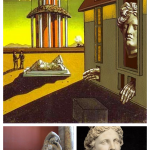 De Chirico, Piazza with Apollo and Ariadne, c. 1913 (top); Sleeping Ariadne, a Roman copy after a Greek original (bottom left); Apollo Belvedere, detail of his face (bottom right)