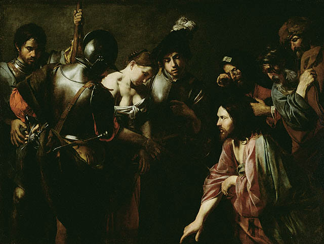 Valentin de Boulogne, Christ and the Adulteress (1620s)