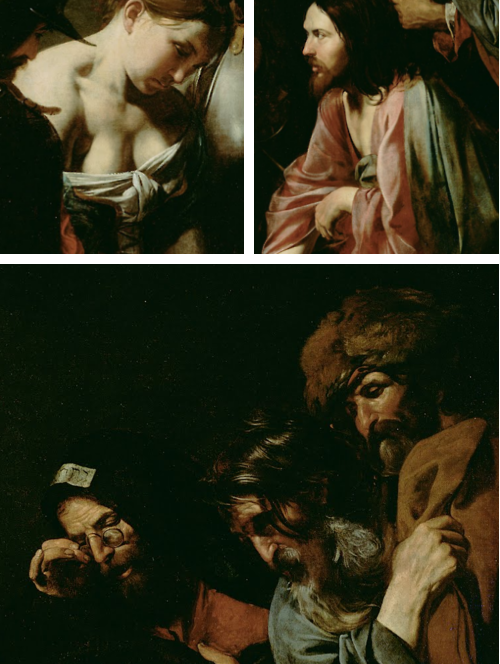 Details from Valentin de Boulogne, Christ and the Adulteress (1620s)