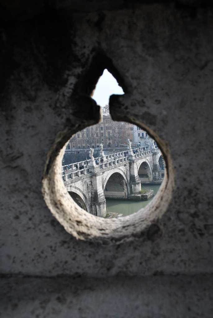 View of the Ponte Sant'Angelo from the Castel Sant'Angelo, Rome, January 2014.
