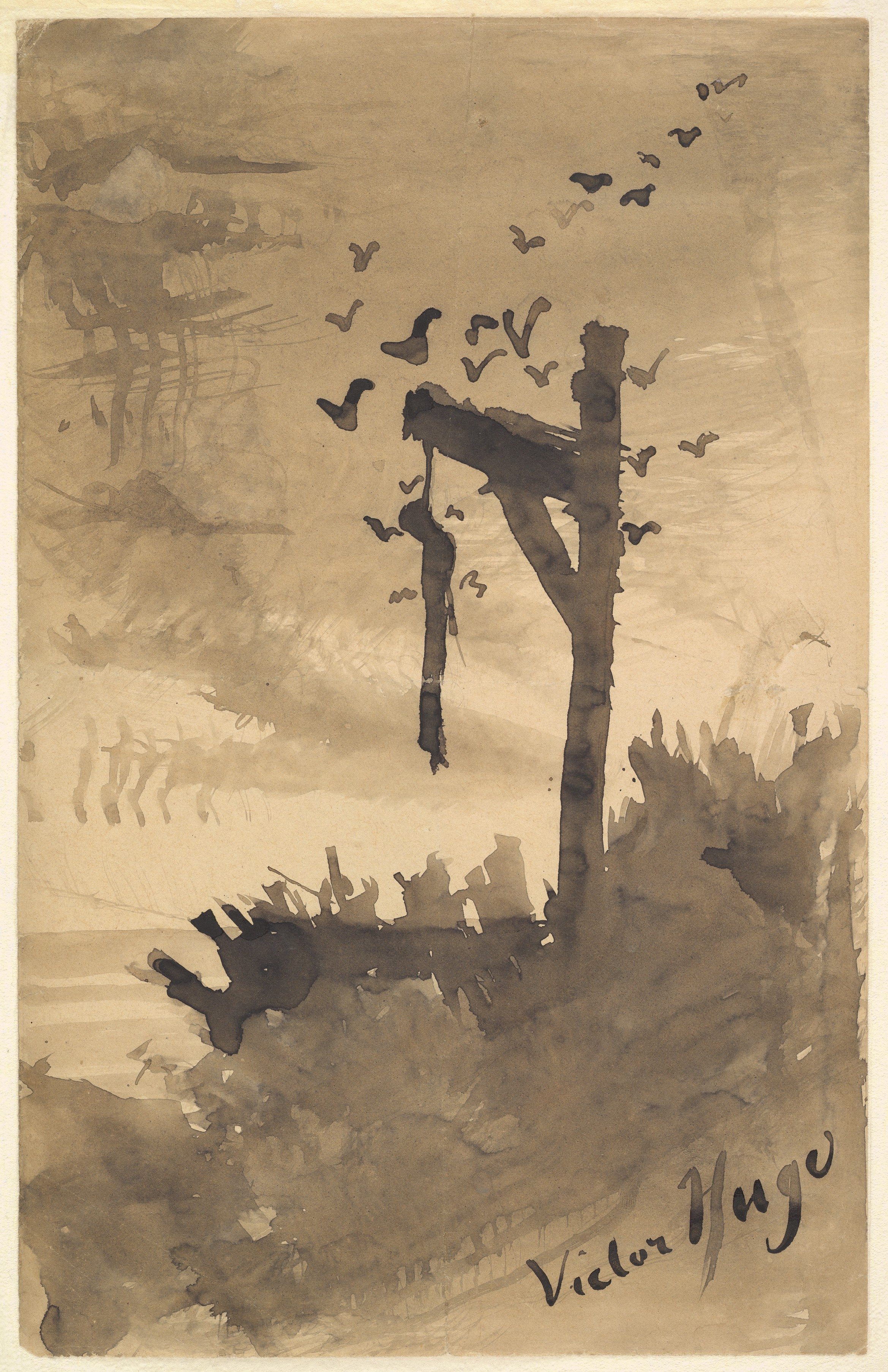 Victor Hugo, The Hanged Man (c. 1855-60). Brush and ink with wash over paper, 12 x 7 11/16 in. The Metropolitan Museum of Art, New York.
